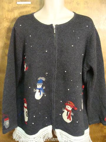 Bright Colored Snowmen Ugly Christmas Jumper