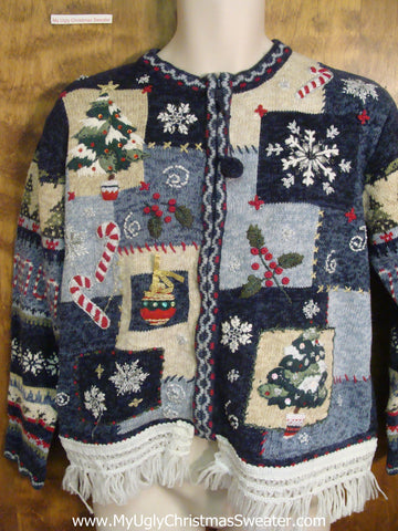 Blue Patchwork Ugly Christmas Jumper