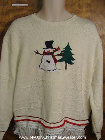 Snowman and Tree Ugly Christmas Jumper