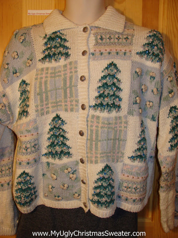 Tacky Cheap Ugly Christmas Sweater with Festive Christmas Trees (f577)