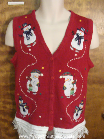 Playful Snowmen Ugly Christmas Jumper Vest