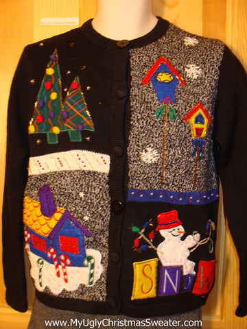 Tacky Cheap Ugly Christmas Sweater with Birdhouse, Trees, and SNOW (f578)