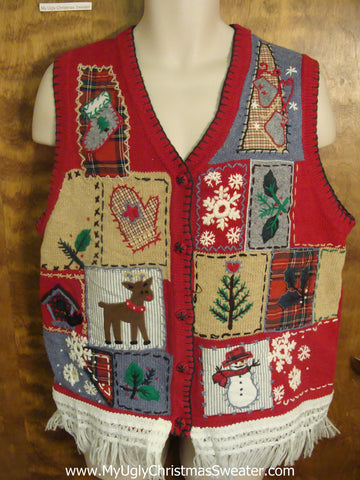 Holiday Patchwork Design Ugly Christmas Jumper Vest