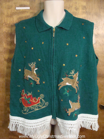 Jolly Reindeer Ugly Christmas Jumper Vest