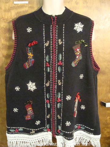 Stockings with Bows Ugly Christmas Jumper Vest