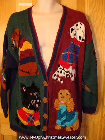 Tacky Dog Lovers Ugly Christmas Sweater with Huge Dogs on Front, Back, and Sleeves 80s Classic (f579)