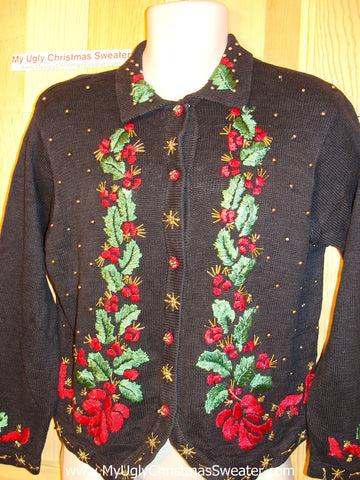 Tacky Ugly Christmas Sweater with Bows and Ivy (f57)
