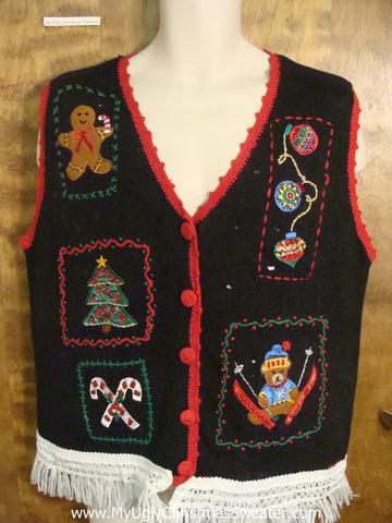 Teddy Bear with his Decorations Funny Christmas Sweater Vest