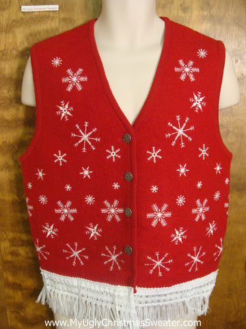 Falling Snowflakes Funny Christmas Sweater Vest