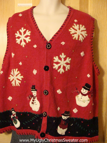 Tacky  Ugly Christmas Sweater Vest with Snowmen and Snowflakes (f581)