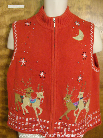 Christmas Eve Reindeer Funny Christmas Sweater Vest