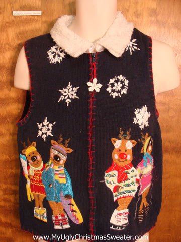 Cool Reindeer Funny Christmas Sweater Vest