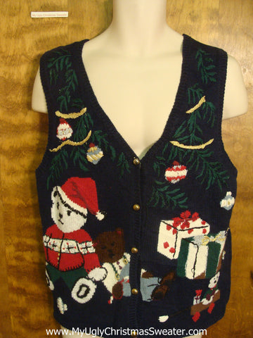 Teddy Bear Presents Funny Christmas Sweater Vest