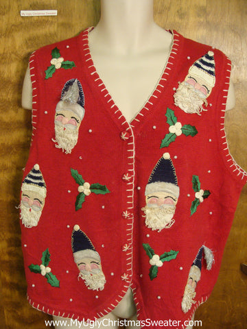 Happy Santas Funny Christmas Sweater Vest