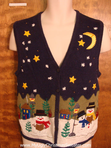 Snowmen on Christmas Eve Funny Christmas Sweater Vest