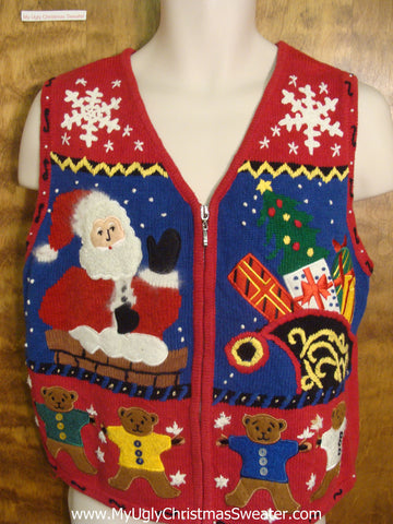 Santa's Coming Funny Christmas Sweater Vest