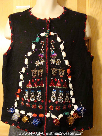 Tacky Bling Ugly Christmas Sweater Vest with Pom Pom Trim and 3D Gifts (f582)