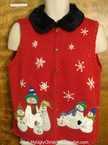 Snowmen Family Friends Funny Christmas Sweater Vest