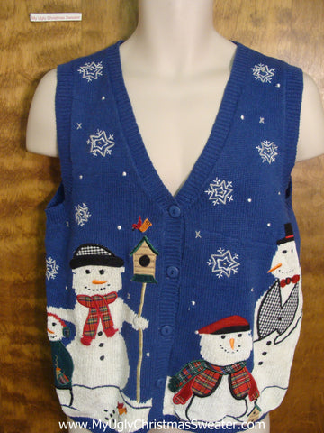 Snowman Family with Friendly Bird Funny Christmas Sweater Vest