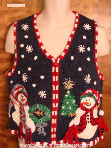 Snowman Couple Decorating Funny Christmas Sweater Vest