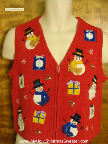 Snowmen Giving Gifts Funny Christmas Sweater Vest