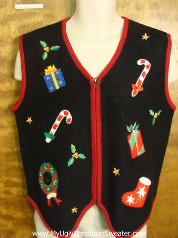 Candy Canes and Xmas Decorations Funny Christmas Sweater Vest