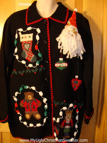 Tacky Ugly Christmas Jacket with 3D Santa and Pom Pom Trimming (f583)