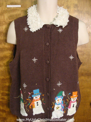Colorful Snowmen Funny Christmas Sweater Vest