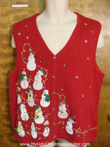 Snowmen Decorating with Bling Funny Christmas Sweater Vest