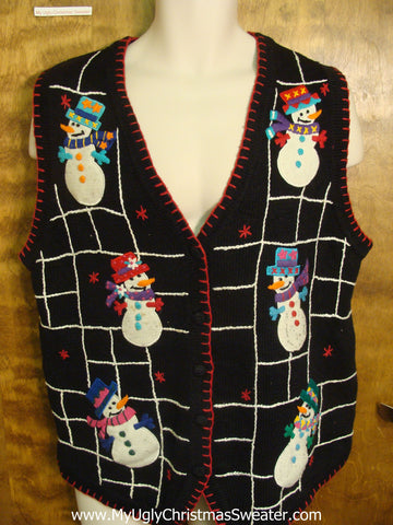 Fun Winter Snowmen Funny Christmas Sweater Vest
