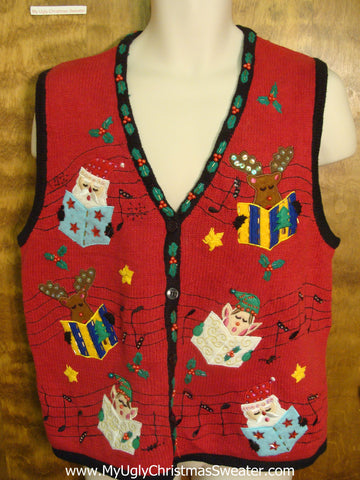 Caroling Christmas Funny Christmas Sweater Vest
