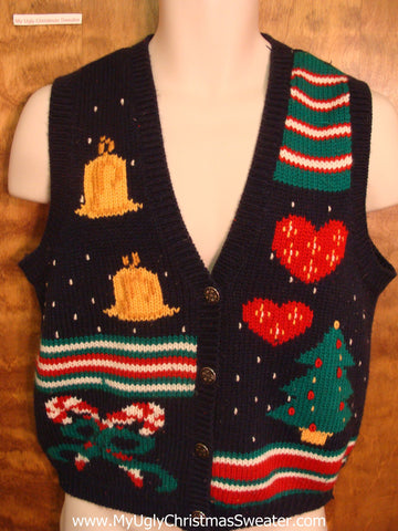 Red and Green Holiday Decorations Funny Christmas Sweater Vest