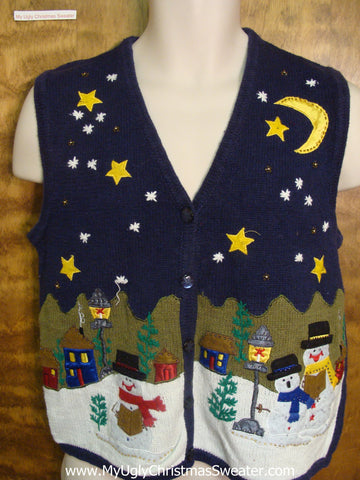 Snowman Family on Xmas Eve Funny Christmas Sweater Vest