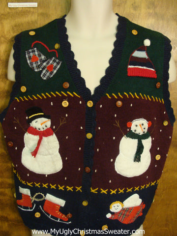 Snowmen Waving Hello Funny Christmas Sweater Vest
