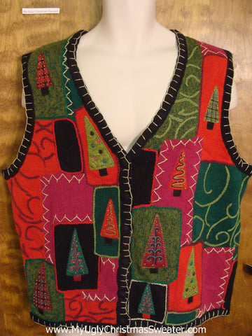 Patchwork Christmas Tree Funny Christmas Sweater Vest