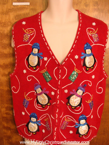 Fun Dancing Penguins Funny Christmas Sweater Vest