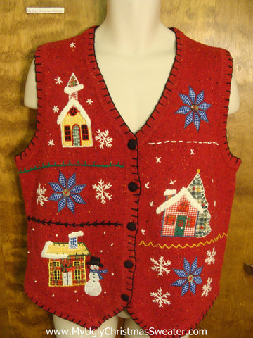 Tiny Xmas Town Funny Christmas Sweater Vest