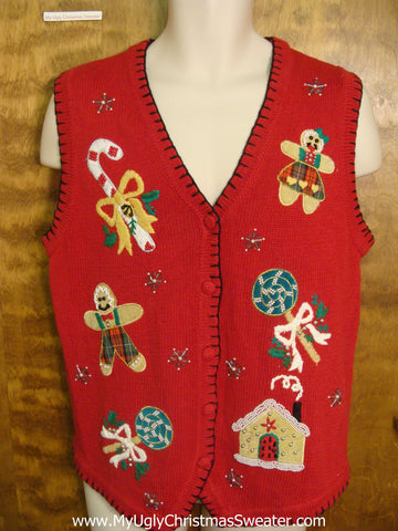Gingerbread Family and Candy Funny Christmas Sweater Vest
