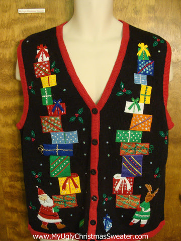 Santa and Rudolph with Presents Funny Christmas Sweater Vest