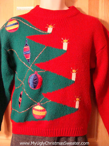 Tacky 80s Ugly Christmas Sweater with Giant Tree (f585)
