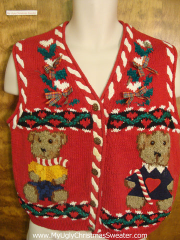 Pair of Teddy Bears Funny Christmas Sweater Vest