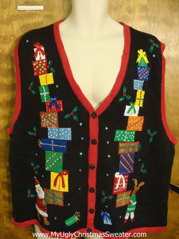 Stacked Presents Funny Christmas Sweater Vest