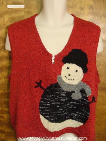 Tacky Snowman Funny Christmas Sweater Vest