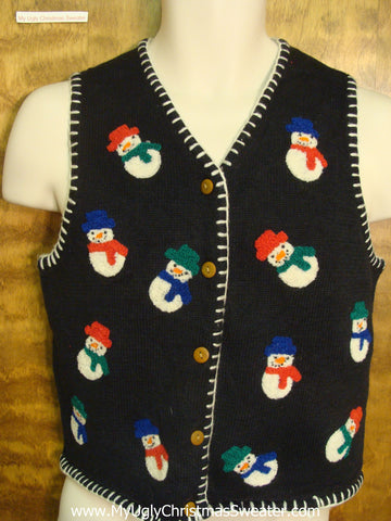 Colorful Winter Snowmen Funny Christmas Sweater Vest
