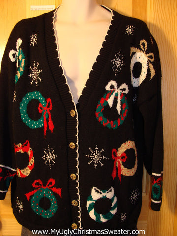 Tacky 80s Classic Ugly Christmas Sweater Cardigan with Wreaths (f586)