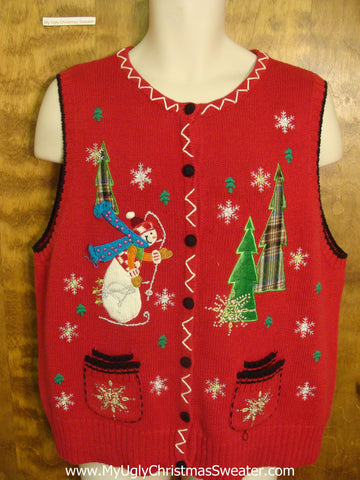 Snowman Dashing Through Snow Funny Christmas Sweater Vest