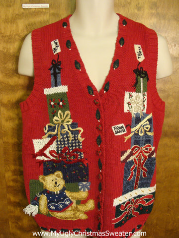 Teddy Bear with Presents Funny Christmas Sweater Vest