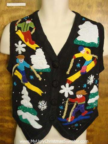 Skiing Funny Christmas Sweater Vest