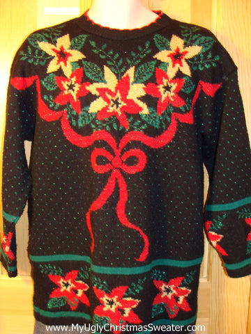 Tacky 80s Horrific Ugly Christmas Sweater with Giant Bow and Poinsettias on Front, Back, and Sleeves (f587)