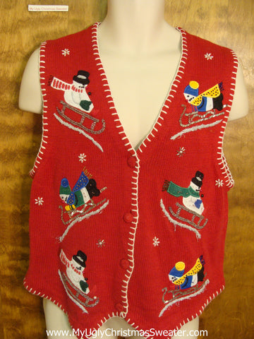 Sledding Snowmen Funny Christmas Sweater Vest